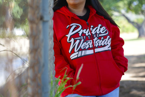 """Pride of the Westside Collection"" RED - Adult ZIP HOODIE"