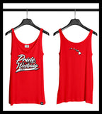 ".HI ISLANDS WHITE on RED ""PRIDE OF THE WESTSIDE"" Women's Fitted Tank"