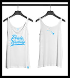 ".HI ISLANDS PASTEL BLUE on WHITE ""PRIDE OF THE WESTSIDE"" Women's Fitted Tank"