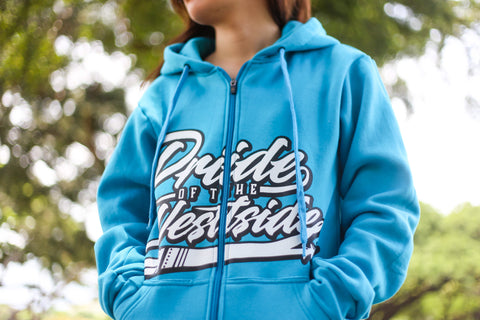 """Pride of the Westside Collection"" TURQUOISE - Adult ZIP HOODIE"