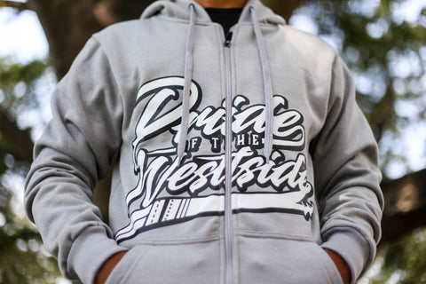"""Pride of the Westside Collection"" GRAY - Adult ZIP HOODIE"