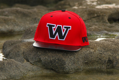 "1.5 W Clean RED on BLACK LEATHER"" Flagship Snapback."