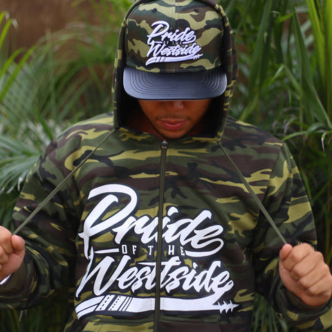 """Pride of the Westside Collection"" GREEN CAMO - Adult ZIP HOODIE"