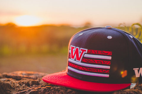 "Tribal Flag ""RED on NAVY BLUE"" Flagship Snapback."
