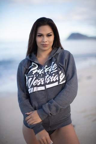"""Pride of the Westside Collection"" Charcoal - Adult ZIP HOODIE"