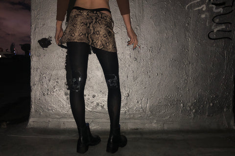Rhinestone Skull Tights