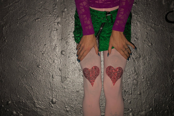 Rhinestone Heart Tights