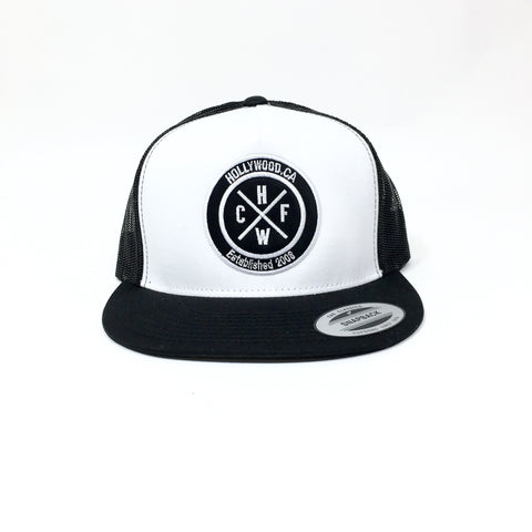 CFHW Patch FlexFit Snapback Trucker Hat (White Panel/Black Mesh)