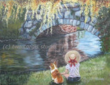 Artwork Corgi Matted Print 11 x 14 from the Painting A DAY BY THE STONE BRIDGE