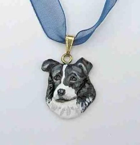 Sculpted BORDER COLLIE Necklace/Pendant Handpainted Original