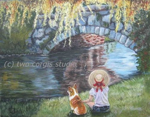 Artwork Corgi Matted Print 8 x 10 from the Painting A DAY BY THE STONE BRIDGE