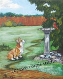 Artwork Corgi Matted Print 11 x 14 from the Painting THE WATCHER