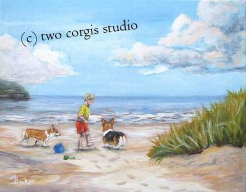Artwork Corgi Matted Print 11 x 14 from the Painting SEASIDE PLAY