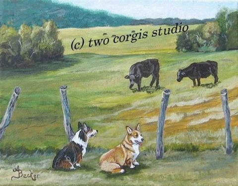 Artwork Corgi Matted Print 8 x 10 from the Painting PASTURE PALS