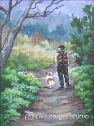 Artwork Corgi Matted Print 8 x 10 from the Painting A SLOW WALK IN THE WOODS