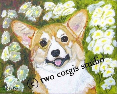Artwork Corgi Matted Print 11 x 14 from the Painting FRITZ CORGI
