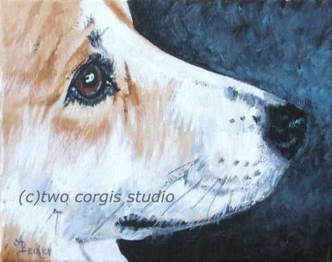 Artwork Corgi Matted Print 11 x 14 from the Painting BRIGHT EYES