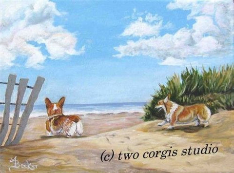 Artwork Corgi Matted Print 11 x 14 from the PaintingSEASIDE ROMP