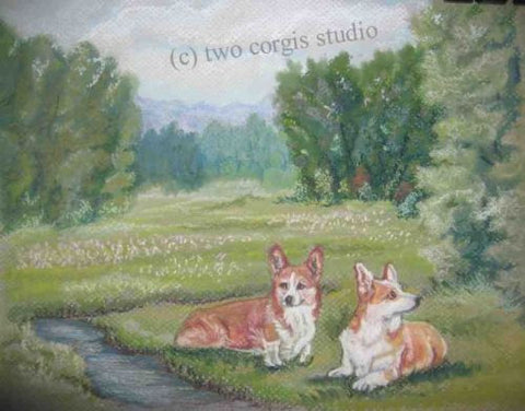 Artwork Corgi Matted Print 11 x 14 from the Painting RESTING IN THE GLEN