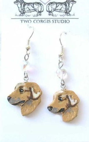 Artisian Made GOLDEN RETRIEVER Artist Original Hand-Painted Earrings