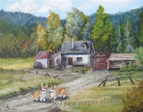Artwork Corgi Matted Print 12 x 16 from the Painting THE HOMESTEAD