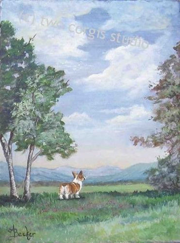 Artwork Corgi Matted Print 12 x 16 from the Painting CORGI MOUNTAIN VIEW