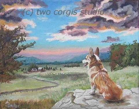 Artwork Corgi Matted Print 11 x 14 from the Painting SUNSET ON THE CORGI FARM