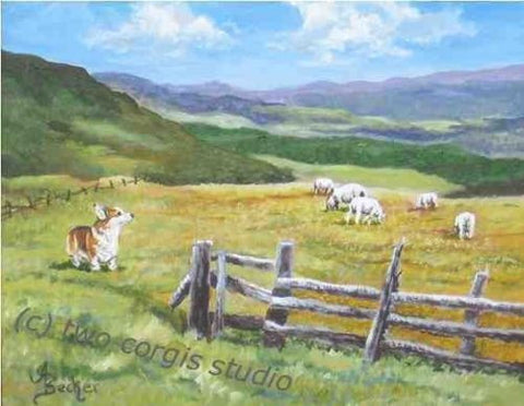 Artwork Corgi Matted Print 8 x 10 from the Painting GRAZING ON GOLDEN FIELDS
