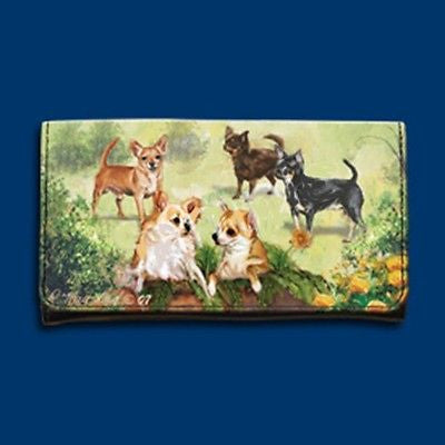 CLEARANCE..RM wallet CHIHUAHUA Dog Breed Ladies Tri-fold Wallet Checkbook