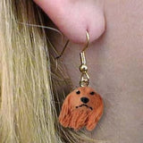 CLEARANCE Dangle Style DACHSHUND LONGHAIR RED Dog Head Earrings Jewelry