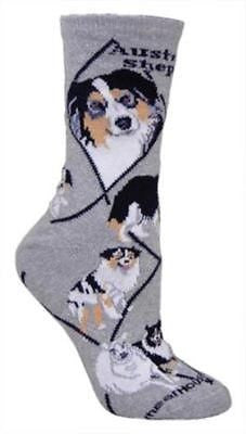 Adult Size Medium AUSTRALIAN SHEPHERD Adult Socks/Grey Made in USA