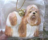 CLEARANCE...Fine Quality SHIH TZU TAN/WHT Blown Glass Xmas Ornament