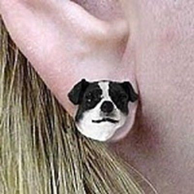 CLEARANCE Post Style JACK RUSSELL TERRIER Black II Dog Head Post Earrings Jewelry