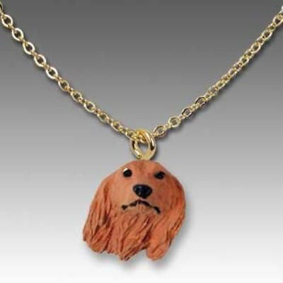 Dog on Chain DACHSHUND LONGHAIR RED Resin Dog Head Necklace Jewelry Pendant