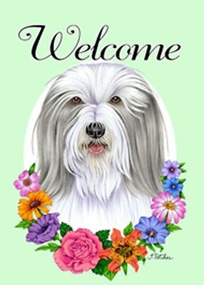 Garden Flag Bearded Collie Dog Breed Welcome Flowers Small Garden Flag USA