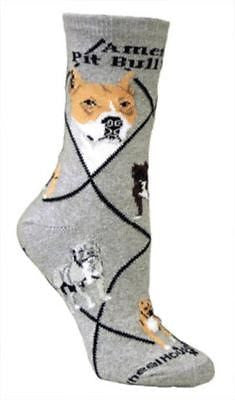 Adult Size Medium AMERICAN PITBULL Adult Socks/Grey Made in USA