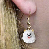 Dangle Style AMERICAN ESKIMO MINI Dog Head Resin Earrings Jewelry