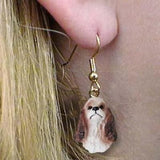 CLEARANCE Dangle Style COCKER SPANIEL BRN/WHT Dog Head Earrings Jewelry