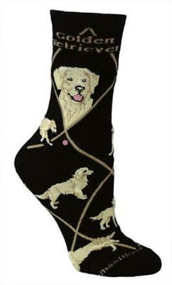 Adult Size Medium GOLDEN RETRIEVER Adult Socks/Black Made in USA