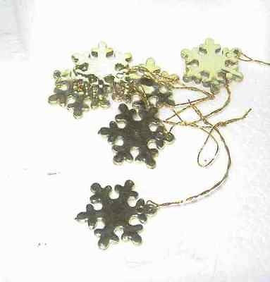 Craft Supply Miniature Plastic Gold Snowflake Lot of 6 pieces