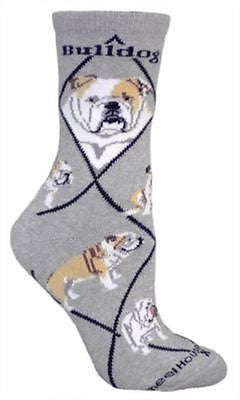 Adult Size Medium BULLDOG Adult Socks/Grey Made in USA