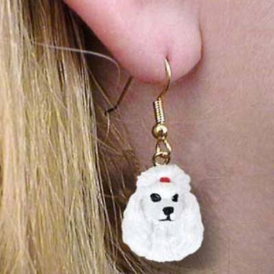 CLEARANCE Dangle Style POODLE WHITE  Dog Head Resin Earrings Jewelry
