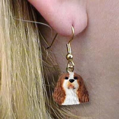 Dangle Style CAVALIER KING CHARLES RED Dog Head Resin Earrings Jewelry