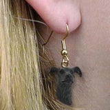 CLEARANCE Dangle Style GREYHOUND BRINDLE Dog Head Earrings Jewelry
