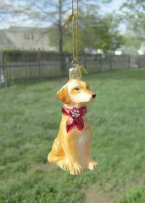 Quality Glass LAB RETRIEVER YELLOW III Blown Glass Dog Breed Christmas Ornament