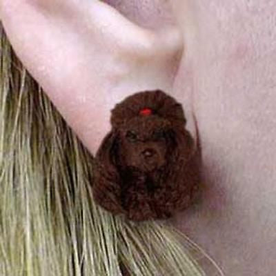 CLEARANCE Post Style POODLE CHOCOLATE Resin Dog Head Post Earrings Jewelry