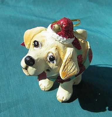 CLEARANCE..Cutie LAB RETRIEVER YELLOW Silly Dog Breed Xmas Ornament