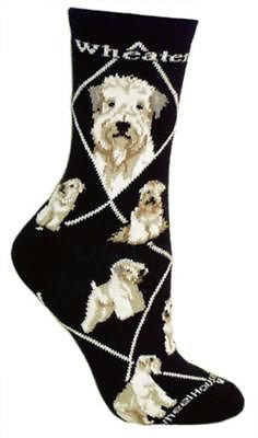 Adult Size Medium SOFT-COATED WHEATEN Adult Socks/Black Made in USA