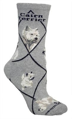 Adult Size Medium CAIRN TERRIER Adult Socks/Grey Made in USA
