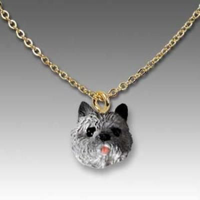 CLEARANCE Dog on Chain CAIRN TERRIER GRAY Resin Dog Necklace Jewelry Pendant